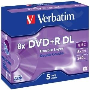 DVD+R DL Verbatim [ jewel case 5 | 8.5GB | 8x | matte silver ]