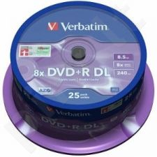 DVD+R DL Verbatim [ spindle 25 | 8,5GB | 8x |  MATT SILVER ]