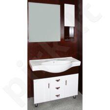 Vonios kambario baldų komplektas M-3007 (pakabinama spintelė, veidrodis, pastatoma spintelė, keramikinis praustuvas)