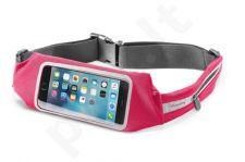 Sportinis dėklas ant juosmens su permatomu langeliu Cellular rožinis
