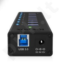 Icy Box 7 x Port USB 3.0 Hub with USB charge port, Black