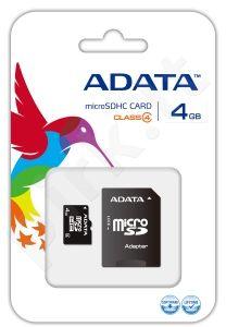 Atminties kortelė Adata microSDHC 4GB CL4 + Adapteris