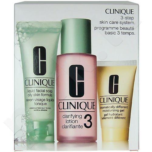 Clinique 3-Step Skin Care 3, rinkinys prausiamasis vanduo moterims, (50ml veido muilas Oily Skin + 100ml Clarifying Lotion 3 + 30ml DDMželė)