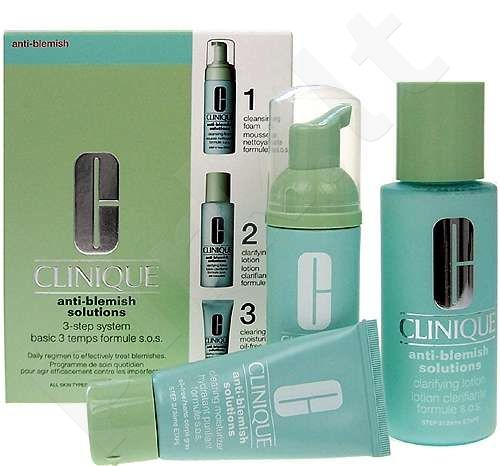 Clinique (50 ml Anti-blemish Solutions Cleansing Foam + 100 ml Anti-Blemish Solutions Clarifying Lotion +30 ml Anti-Blemish Solutions Clearin) Anti-Blemish Solutions 3-Step System, rinkinys moterims