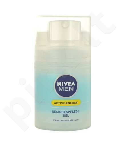 Nivea Men Active Energy Face gelis, kosmetika vyrams, 50ml