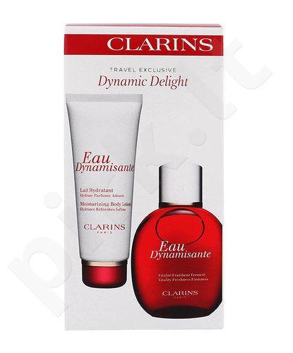 Clarins Dinaminis kūno malonumo rinkinys moterims, (tonizuojantis vanduo 100 ml + drėkinantis kūno losjonas 100 ml)