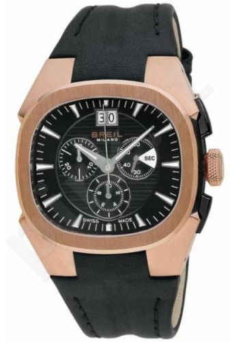 Laikrodis BREIL MILANO EROS LTD MANTA kvarcinis. chronometras. SS Case IP Rose Gold. oda strap. 44mm WR 10ATM