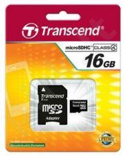 Atminties kortelė Transcend  microSDHC 16GB CL4 + Adapteris
