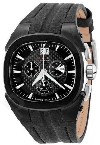 Laikrodis BREIL MILANO EROS LTD MANTA kvarcinis. chronometras. SS Case IP Black. oda strap. 44mm WR 10ATM