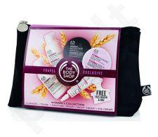 The Body Shop Vitamin E Kit rinkinys moterims, (60ml kremas valiklis + 60ml drėkinamasis tonikas + 50ml drėkinantis kremas + 50ml Moisture naktinis kremas + 15 ml akių krems + Face Brush + krepšys)