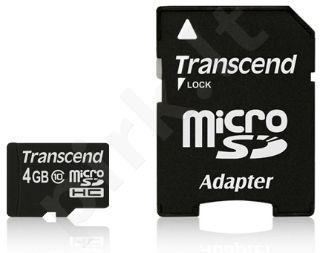 Atminties kortelė Transcend  microSDHC 4GB CL10 + Adapteris
