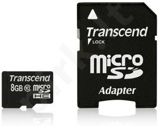 Atminties kortelė Transcend microSDHC 8GB CL10 + Adapteris