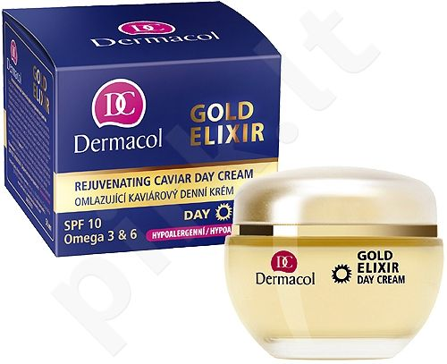 Dermacol Gold Elixir Rejuvenating Caviar Day Cream, 50ml, kosmetika moterims