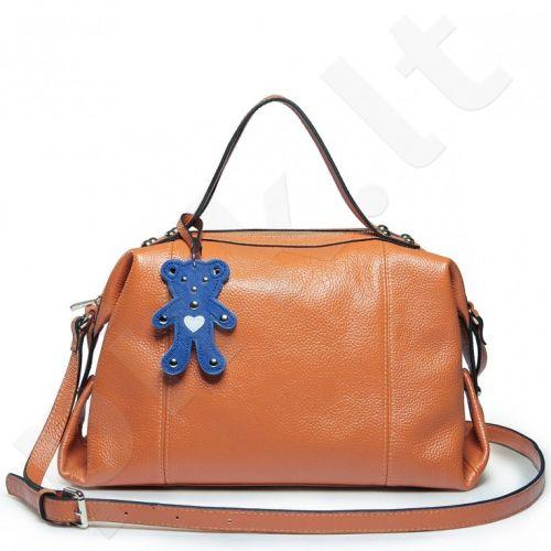 Nucelle - Teddy bear cowhide satchel bag Orange 1170339-33