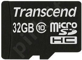 Atminties kortelė Transcend microSDHC 32GB CL10 + Adapteris