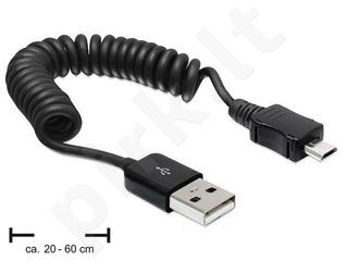Delock kabelis USB 2.0 AM-BM Micro coiled cable 20-60cm