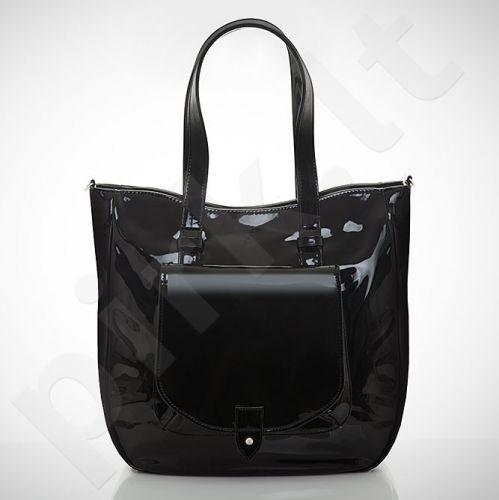Felice Grande M01 - eko odos  juoda lakuota rankinė, moterims, su kišene
