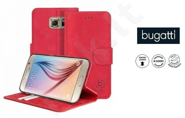 Samsung Galaxy S6 dėklas book MADRID Bugatti raudonas