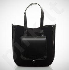 Felice Grande M01 - eko odos  juoda zomšinė rankinė, moterims, su kišene