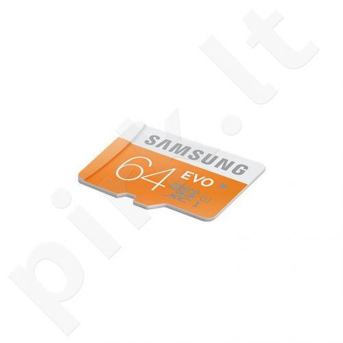 Atminties kortelė Samsung Evo microSDXC 64GB CL10 UHS1, Skaitymas iki 48MBs