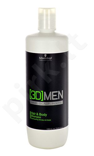 Schwarzkopf 3DMEN Hair & Body šampūnas, kosmetika vyrams, 1000ml