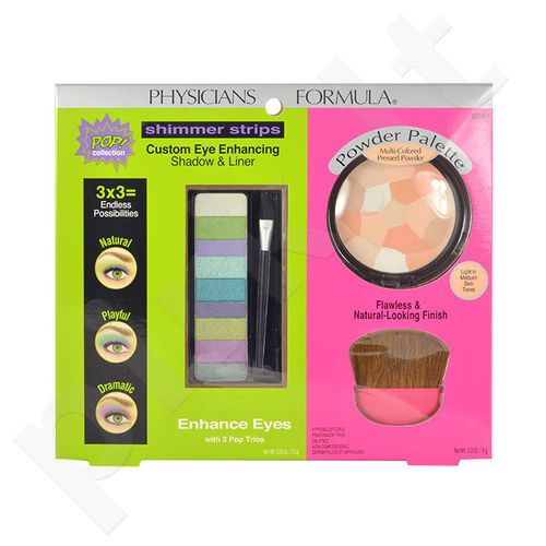 Physicians Formula Enhance Eyes Kit rinkinys moterims, (7,5g Custom Eye Enhancing Shadow & Liner + 9g Multi-Colored presuota pudra + Brush)