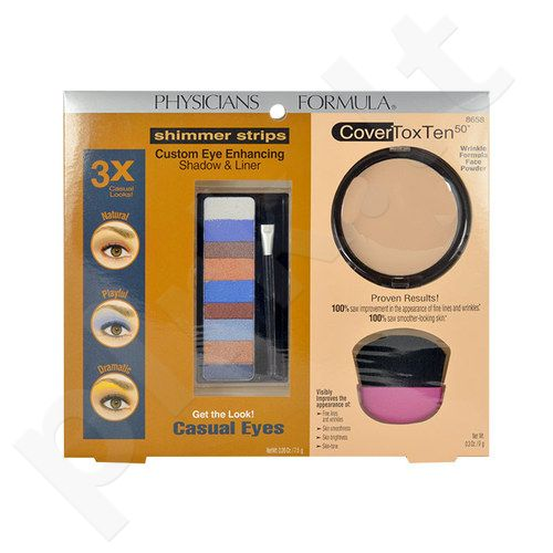 Physicians Formula Casual Eyes Kit rinkinys moterims, (7,5g Custom Eye Enhancing Shadow & Liner + 9g CoverTox Ten 50 veido pudra + Brush)