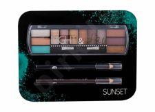 2K Night & Day, rinkinys akių šešėliai moterims, (akių šešėliai Palette 8,16 g + akių kontūrų priemonė Pencil 0,6 g Black + akių kontūrų priemonė Pencil 0,6 g Brown), (Sunset)