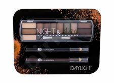2K Night & Day, rinkinys akių šešėliai moterims, (akių šešėliai Palette 8,16 g + akių kontūrų priemonė Pencil 0,6 g Black + akių kontūrų priemonė Pencil 0,6 g Brown), (Daylight)