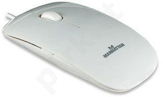 Pelė Manhattan Optinė Mini Silhouette USB 1000dpi Balta
