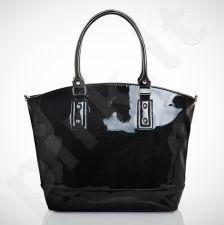 Felice Carino M05 - eko odos   juoda lakuota elegantiška rankinė, moterims