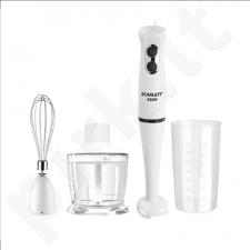Scarlett SC-HB42F13R Hand blender, 2 speeds, Mini-chopper 600ml, Stainless steel blades, Measuring cup 0,5L, 650W, White