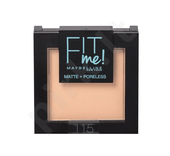 Maybelline Fit Me!, Matte + Poreless, kompaktinė pudra moterims, 9g, (115 Ivory)