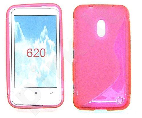 Nokia 620 Lumia dėklas SILICON Forever rožinis