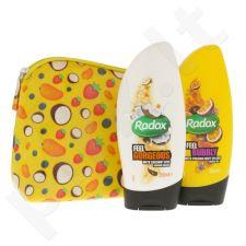 Radox Feel Bubbly And Gorgeous kūno priežiūros rinkinys moterims, (dušo želė Feel Bubbly 250 ml + dušo kremas Feel Gorgeous 250 ml + kosmetikos krepšys)