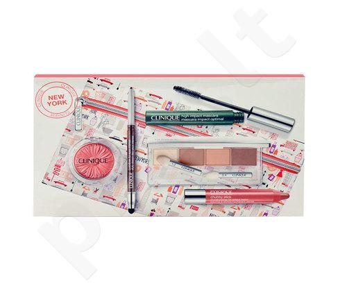 Clinique kosmetikos rinkinys moterims, (4,8g šešėliai + 28g akių pieštukas + 7ml High Impact blakstienų tušas + 3,5g skaistalai + 3g lūpų balzamas + krepšys)