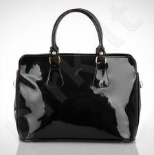 FELICE Carla M10 - eko odos  juoda lakuota elegantiška rankinė, moterims