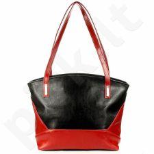 DAN-A T286 juoda- raudona odinė rankinė moterims