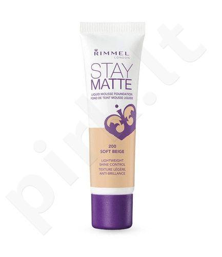Rimmel London Stay Matte Liquid Mousse Foundation, kosmetika moterims, 30ml, (100 Ivory)