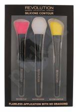 Makeup Revolution London Brushes, rinkinys šepetėlis moterims, (Flat Brush 1 pc + Blending Brush 1 pc + Contouring Brush 1 pc)