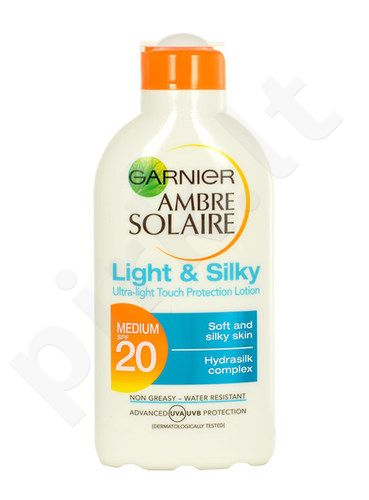 Garnier Ambre Solaire Light & Silky SPF20 Lotion, kosmetika moterims, 200ml