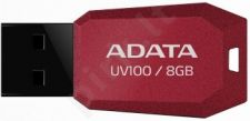 Atmintukas Adata DashDrive UV100 8GB Raudonas, Slim design: storis vos 5.8mm