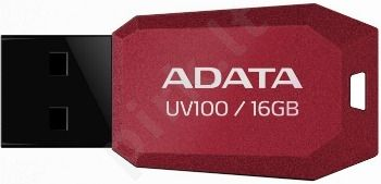 Atmintukas Adata DashDrive UV100 16GB Raudonas, Slim design: storis vos 5.8mm