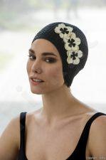 Kepuraitė plaukimui Ladies Rubber su gėlėmis 3119 20