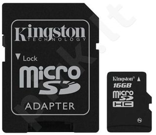 Atminties kortelė Kingston microSDHC 16GB CL4 + Adapteris