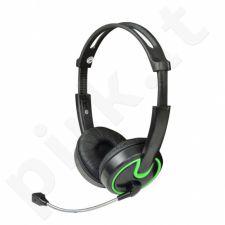 Stereo ausinės su mikrofonu MSONIC Garsumo valdymas MH563KE juoda-žalios