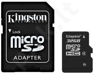 Atminties kortelė Kingston microSDHC 32GB CL4 + Adapteris