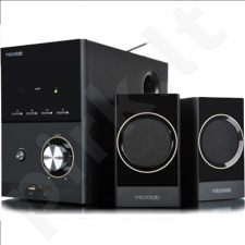 Microlab M-223U 2.1 Speakers/ 17W RMS (4Wx2+9W)/ Wooden/ FM Radio/ USB, SD Card Slots/ Plays MP3, Radio without PC
