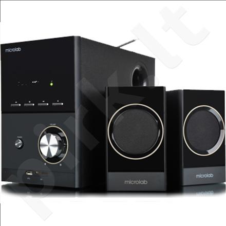 Microlab M-223U 2.1 Speakers/ 17W RMS (4Wx2+9W)/ Wooden/ FM Radio/ USB, SD Card Slots/ Plays MP3, Radio without PC