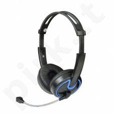 Stereo ausinės su mikrofonu MSONIC Garsumo valdymas MH563KB juoda-mėlynos